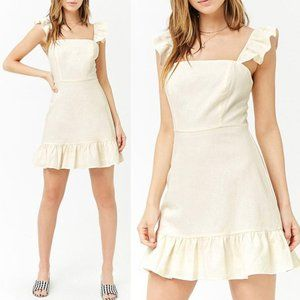 Bleuh Ciel Dresses - NEW Cream Ivory Ruffle Linen Blend Cute Mini Dress